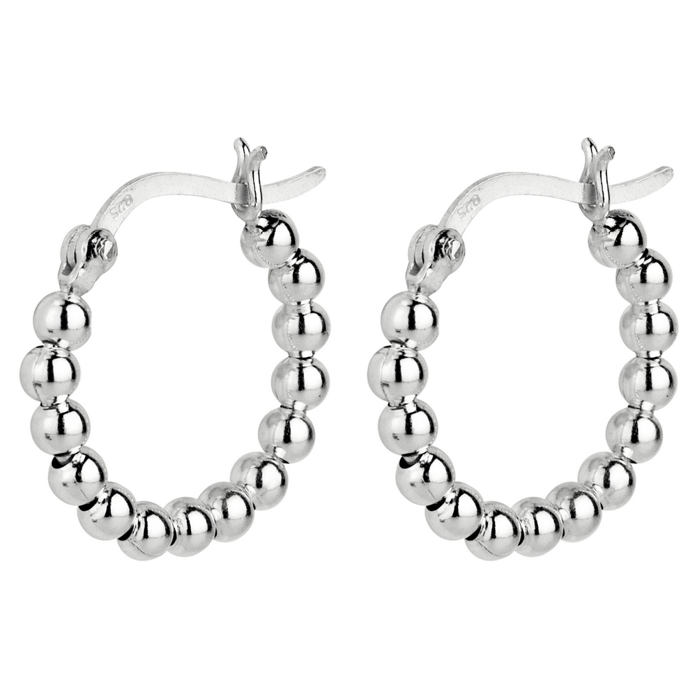 Hoop Earring Beaded Made With 925 Silver by JOE COOL