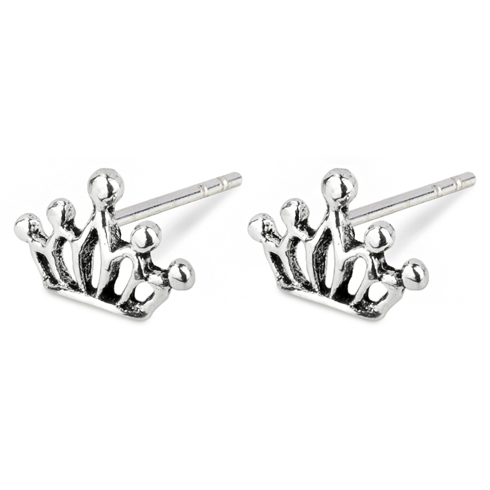 Stud Earring Dainty Crown Made With 925 Silver by JOE COOL
