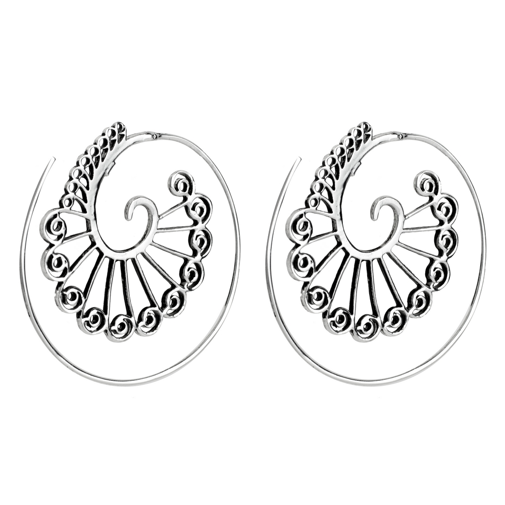 Hoop Earring Rococo Scroll Made With 925 Silver by JOE COOL