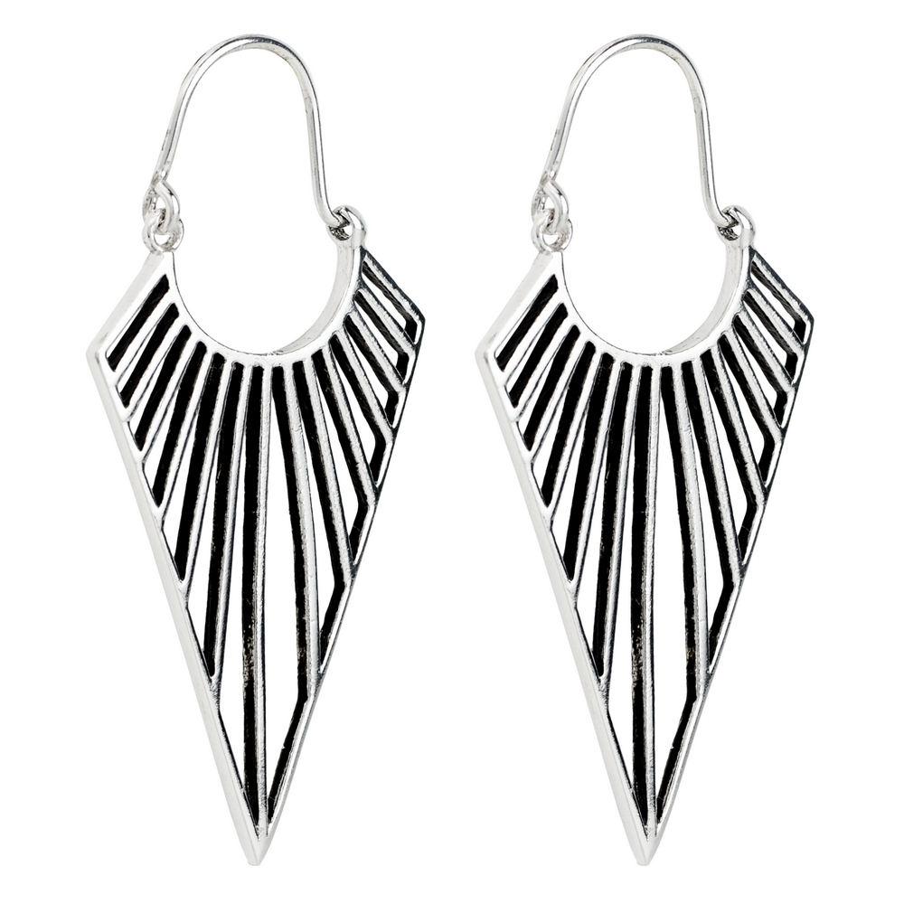 Hoop Earring Deco Triangle Made With 925 Silver by JOE COOL