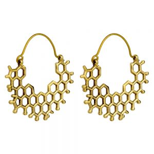 Hoop Earring Honeycomb Made With Brass by JOE COOL