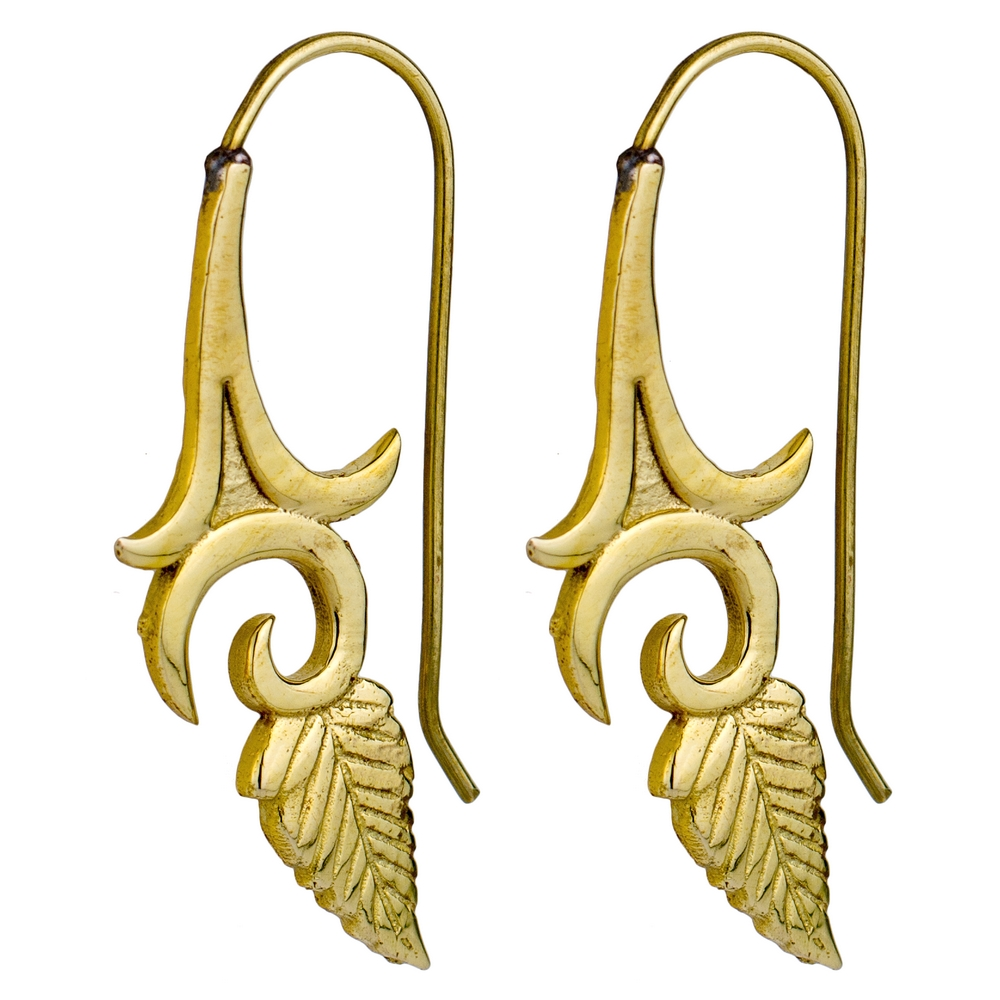 Hoop Earring Leaf Made With Brass by JOE COOL