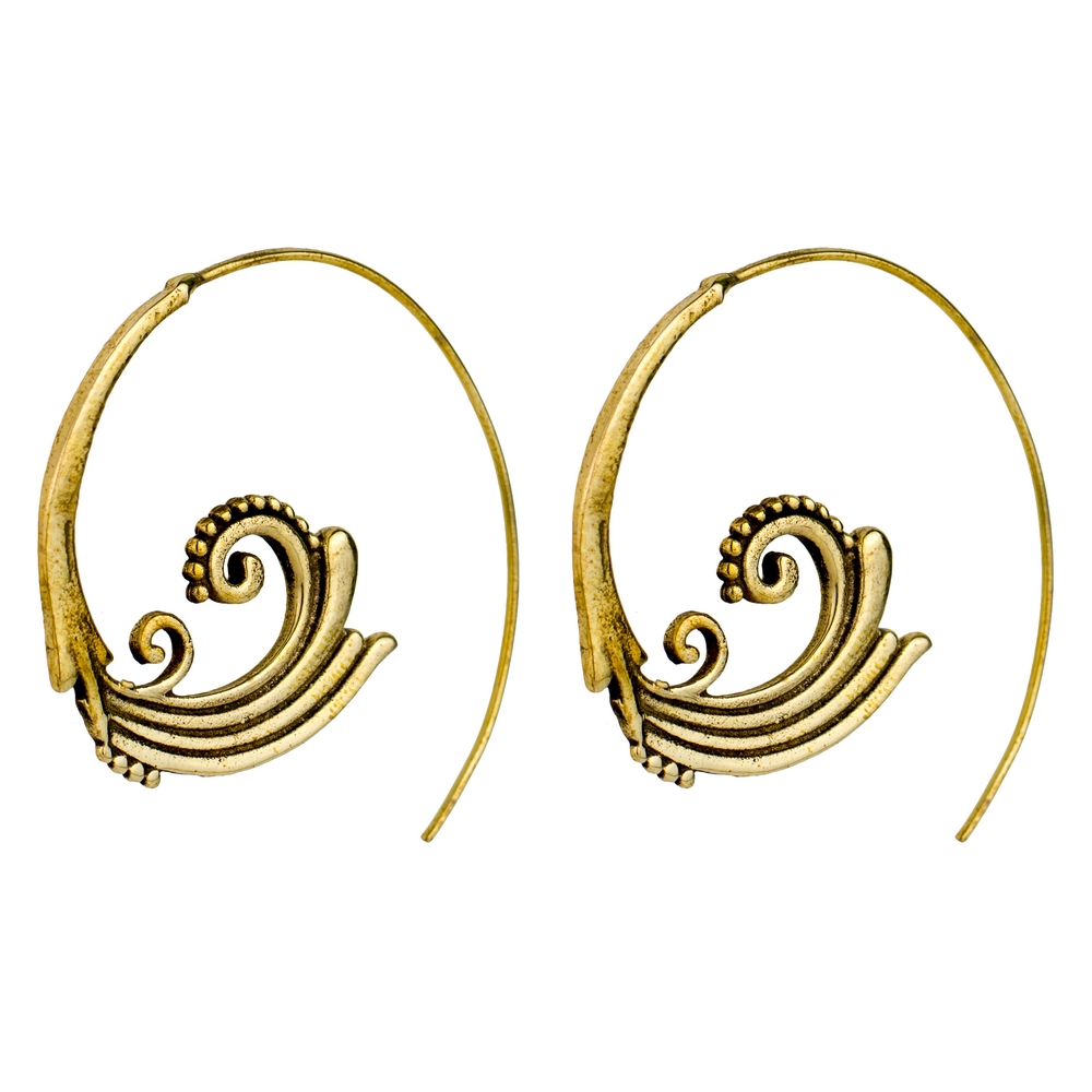 Hoop Earring Rococo Scroll Made With Brass by JOE COOL