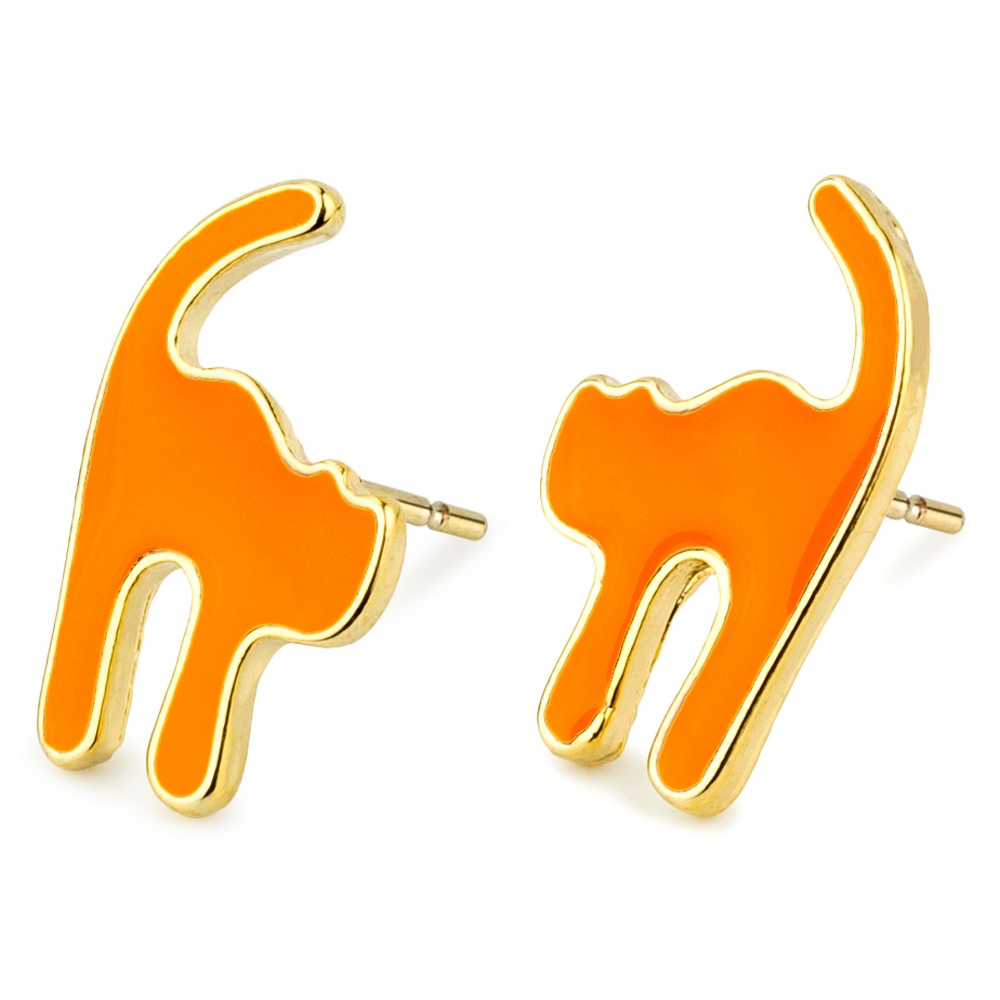 Stud Earring Stressed Out Cat Made With Tin Alloy by JOE COOL