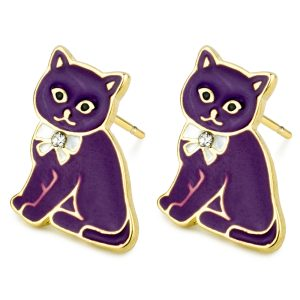 Stud Earring Diamante Kitty Made With Tin Alloy by JOE COOL
