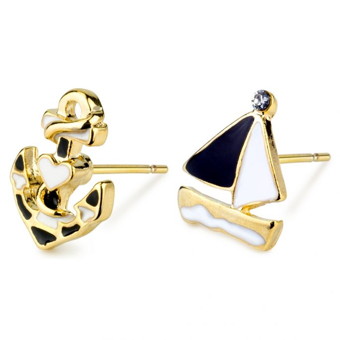 Stud Earring Boat & Anchor Made With Tin Alloy by JOE COOL
