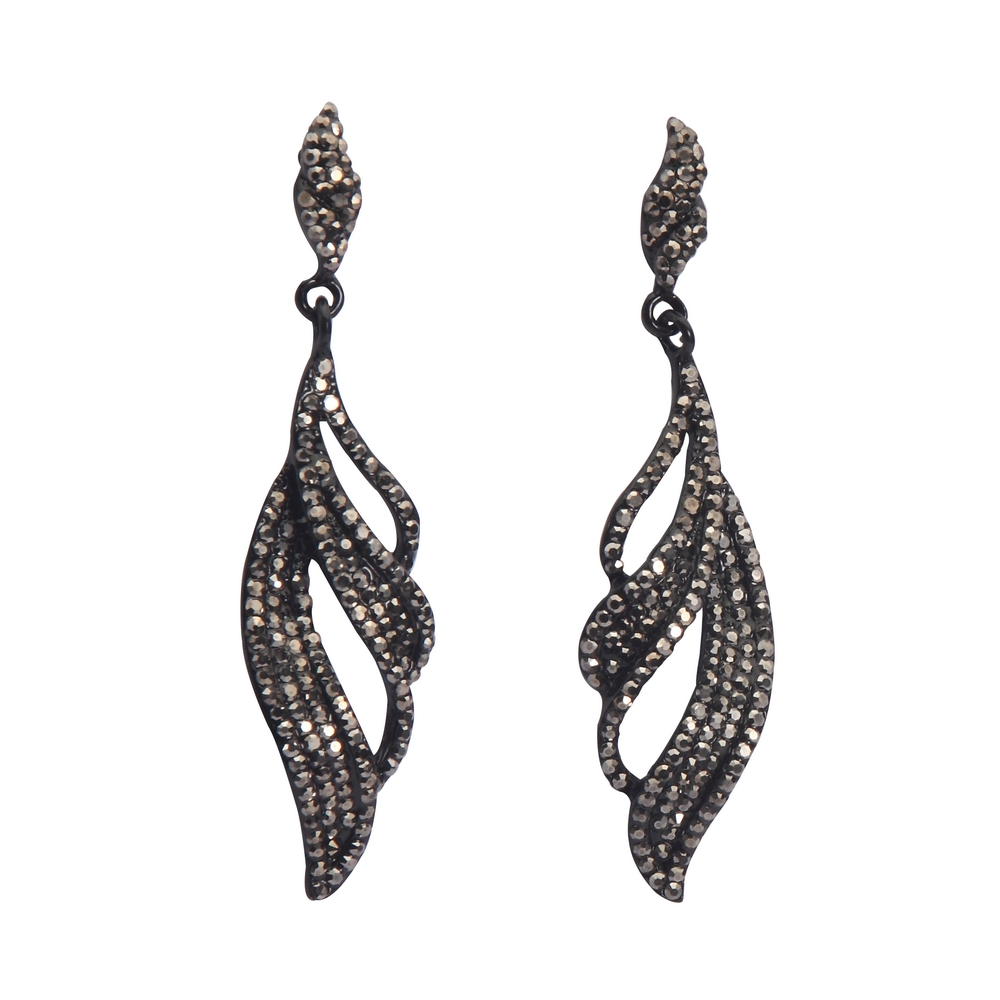 Drop Earring Marcasite Gatsby Made With Crystal Glass & Zinc Alloy by JOE COOL