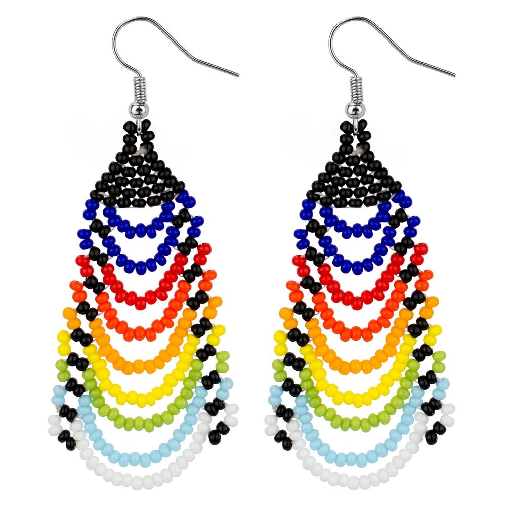 Drop Earring Rainbow Scallop Made With Bead by JOE COOL