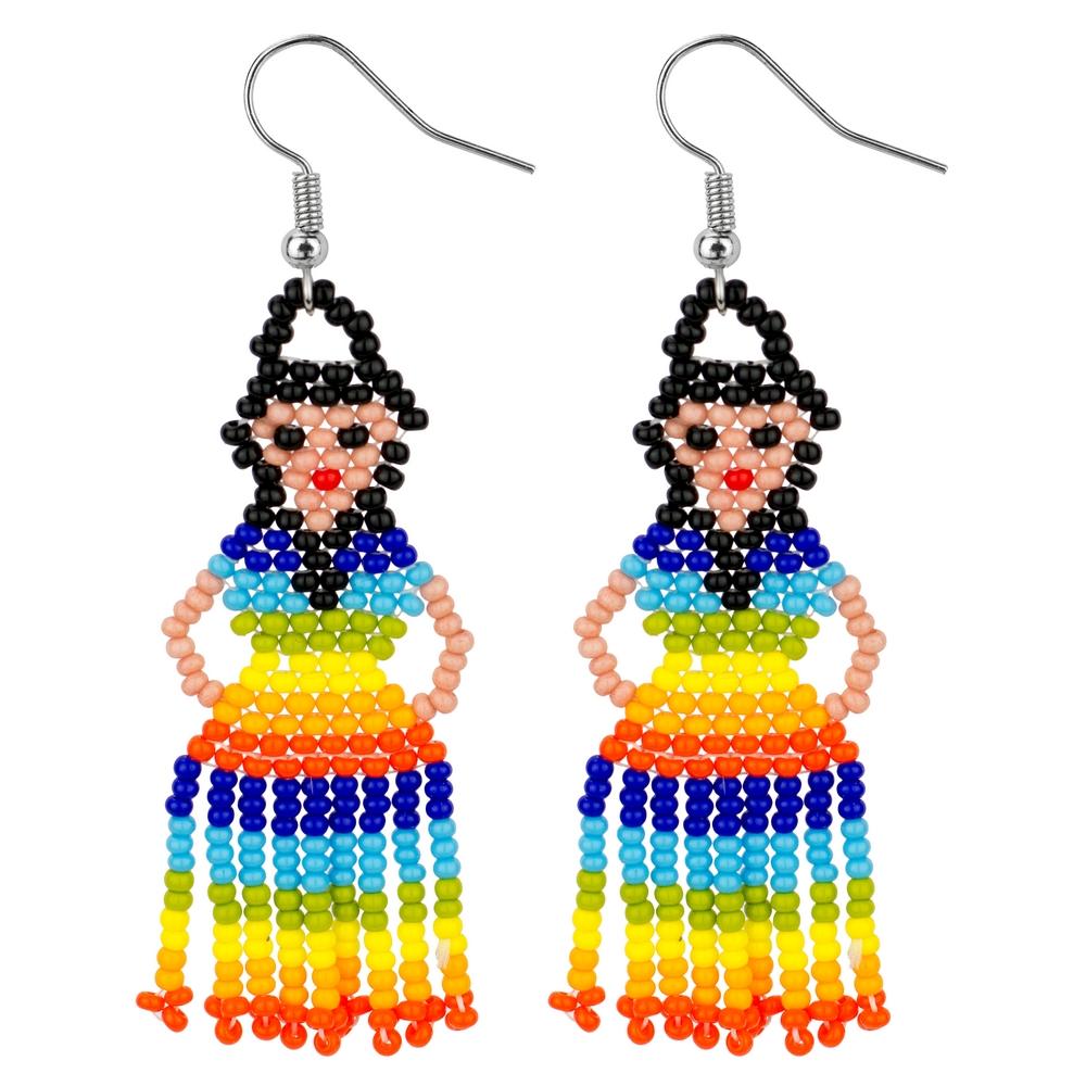 Drop Earring Rainbow Lady Made With Bead by JOE COOL