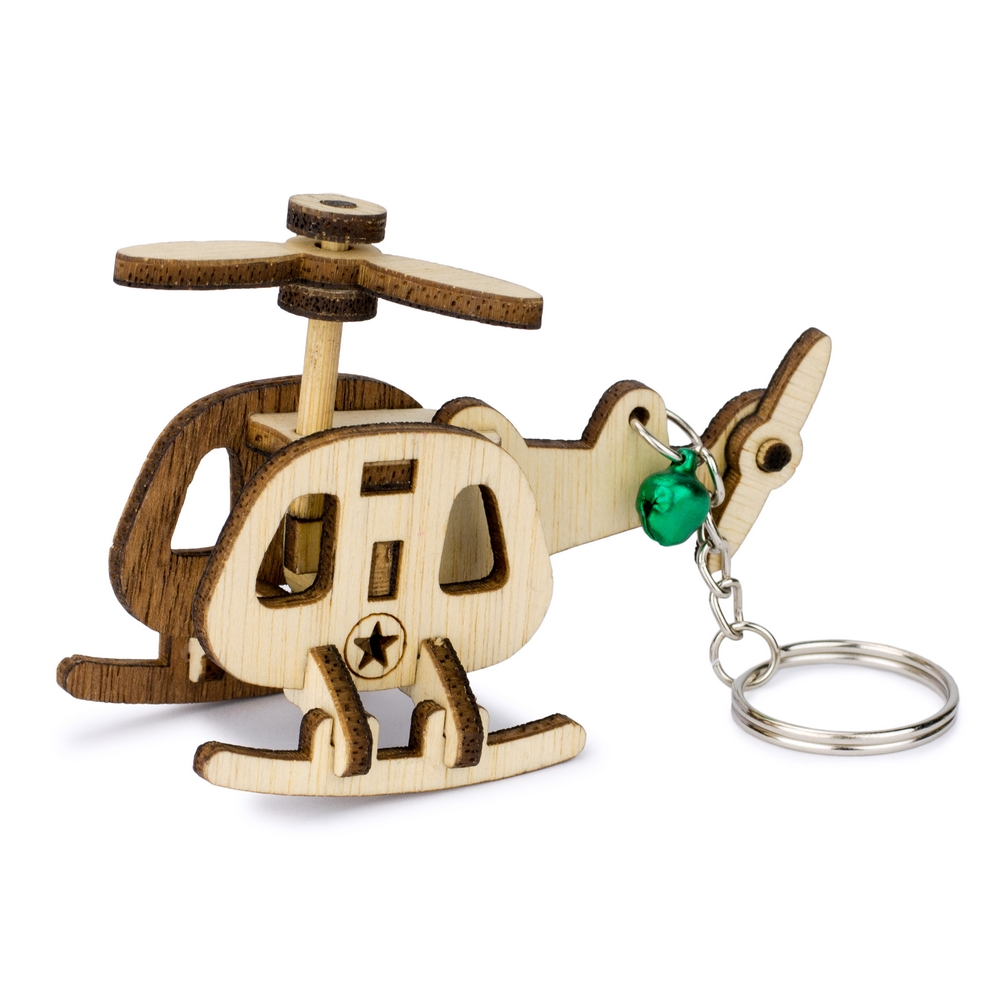 Keyring Laser Cut Military Helicopter Made With Wood by JOE COOL