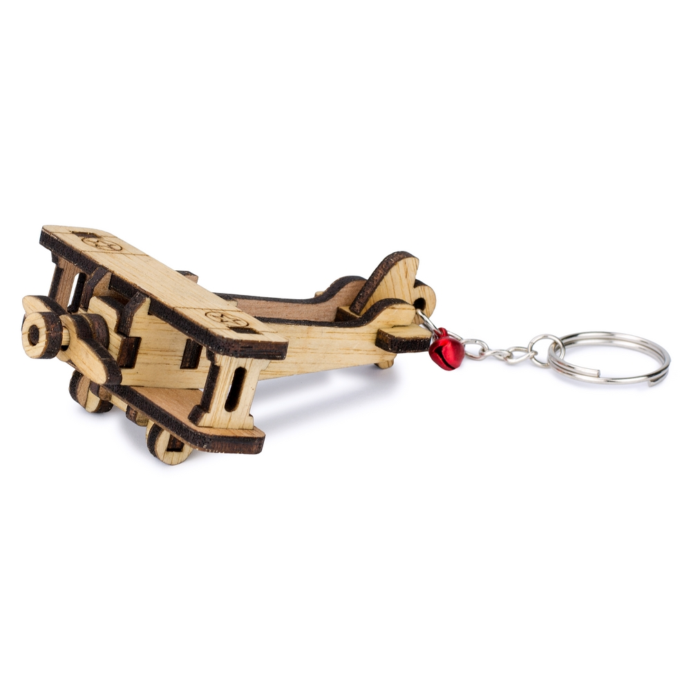 Keyring Laser Cut Military Propeller Plane Made With Wood by JOE COOL