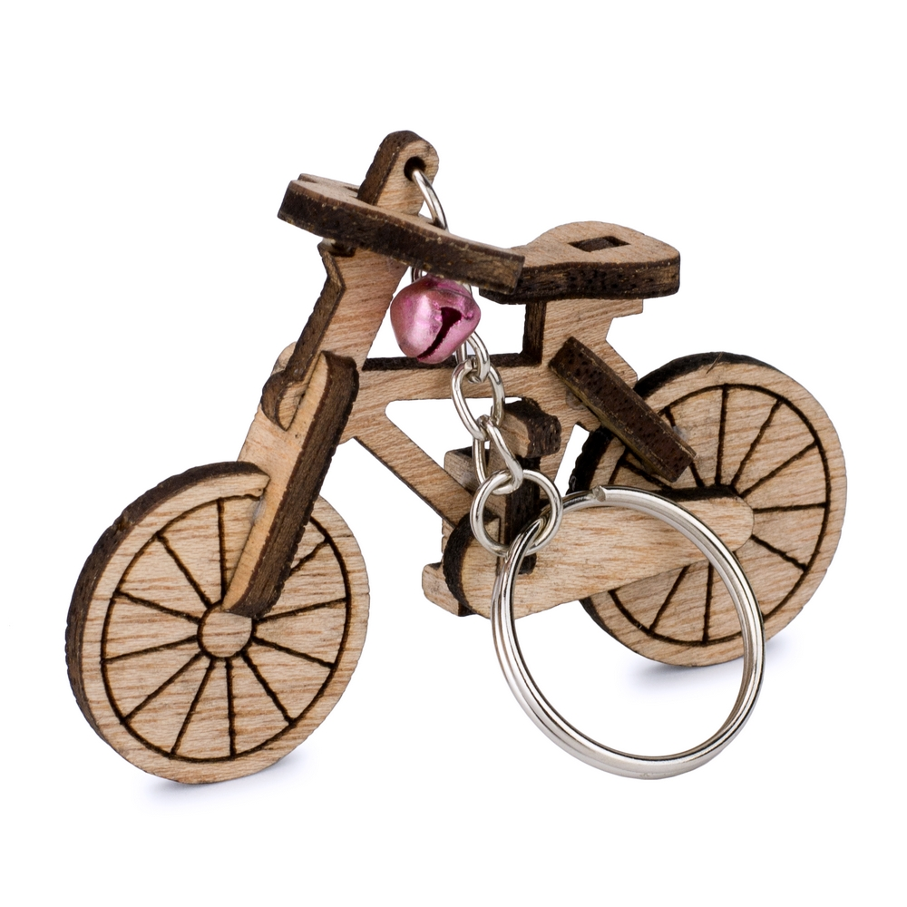 Keyring Laser Cut Bicycle Made With Wood by JOE COOL