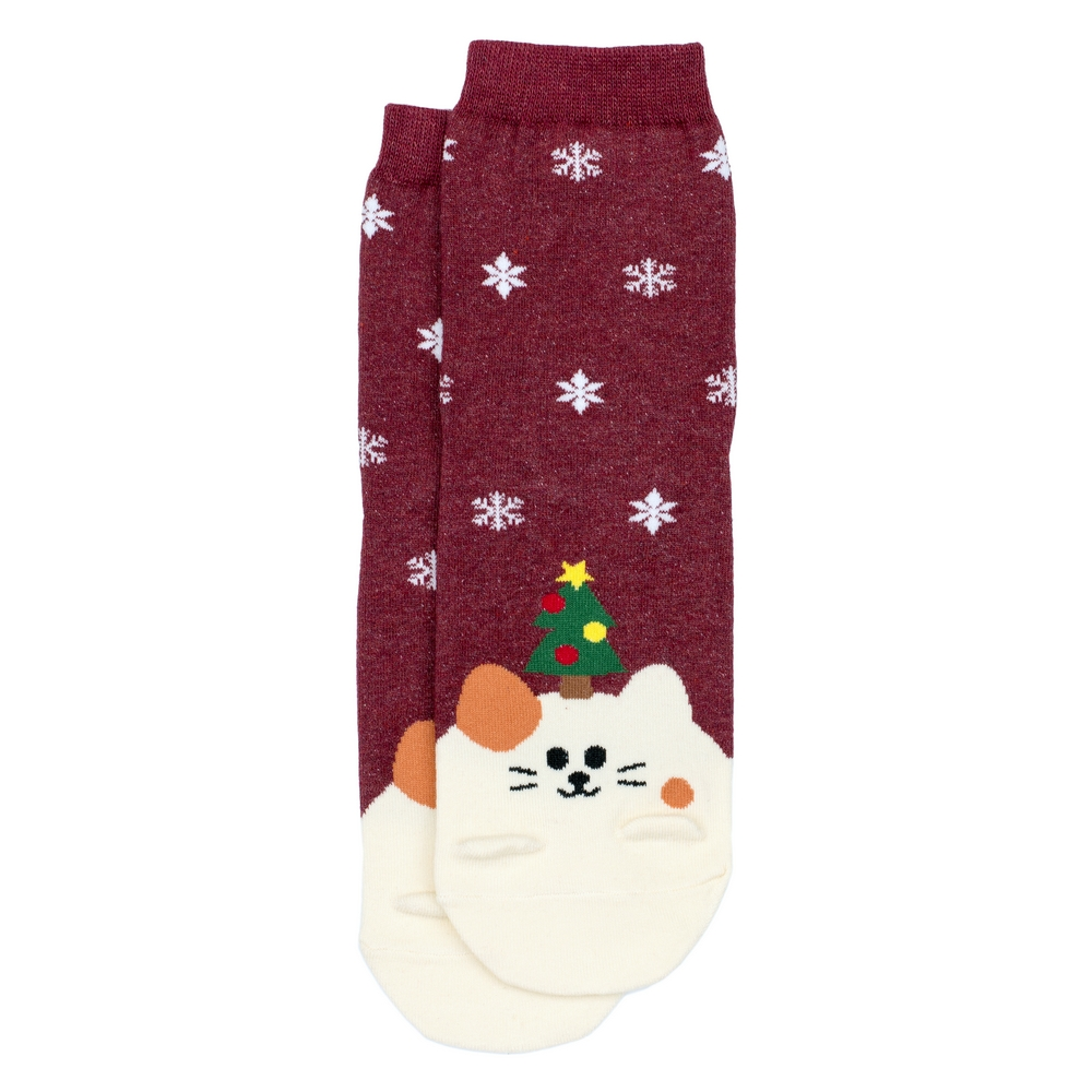 Socks Animal Santa Cat Made With Cotton & Spandex by JOE COOL