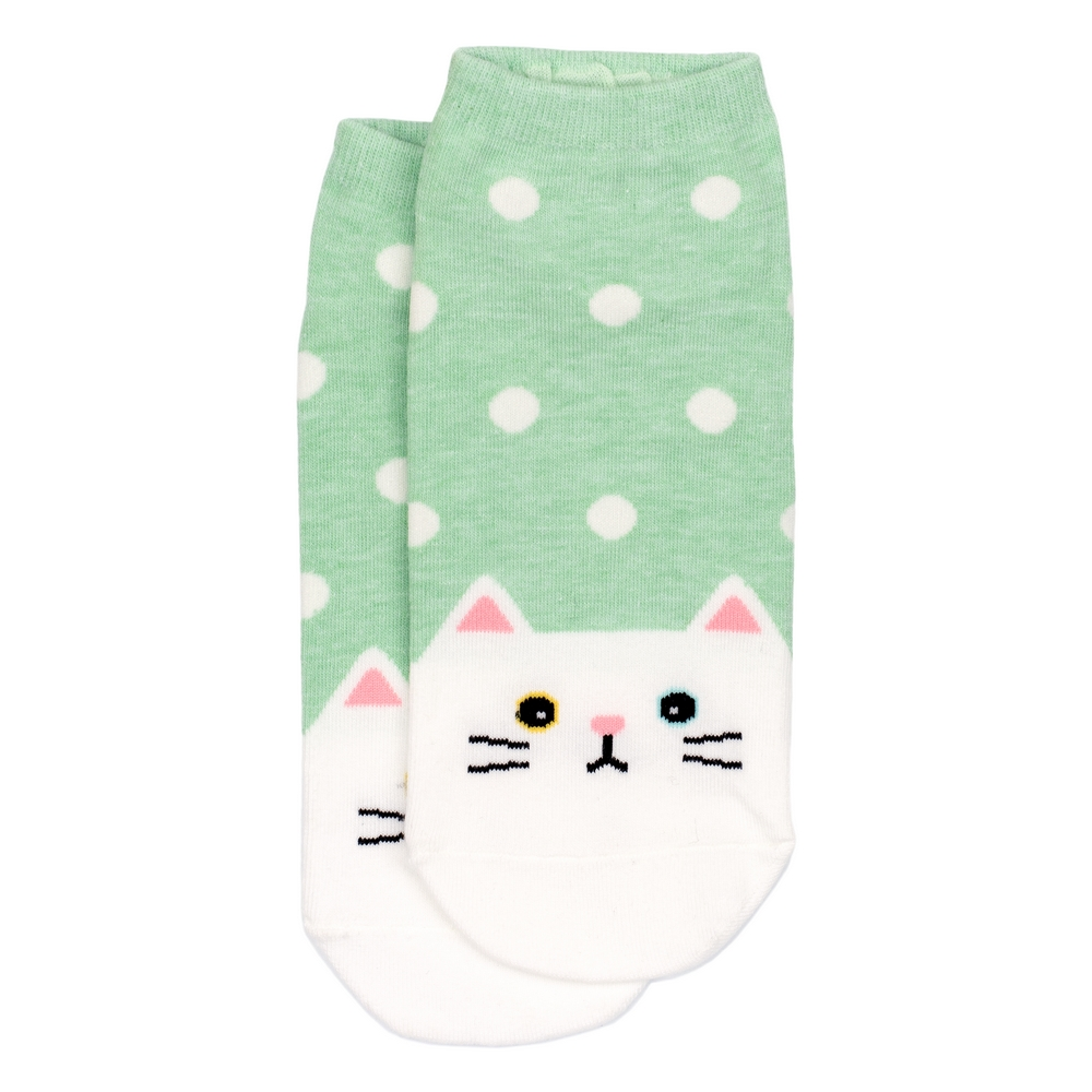 Socks Polka Kitty Made With Cotton & Spandex by JOE COOL