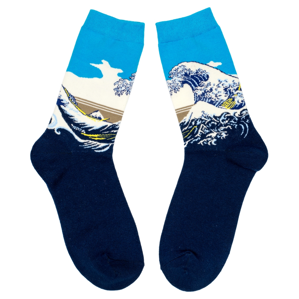 Socks Hokusai The Great Wave Of Kanagawa Made With Cotton & Nylon by JOE COOL
