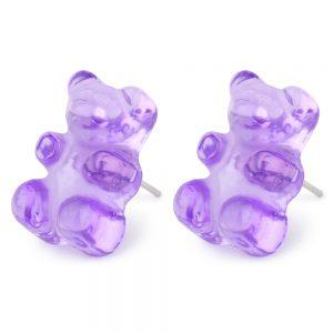 Stud Earring Gummy Bear Made With Acrylic & Iron by JOE COOL