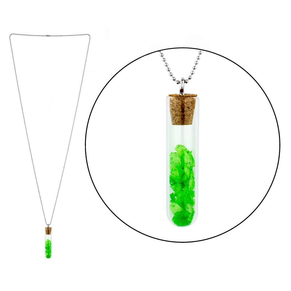 Necklace Test Tube Glow In The Dark Made With Glass & Iron by JOE COOL
