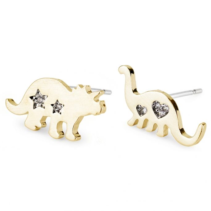 Stud Earring Dinosaurs Made With Crystal Glass & Tin Alloy by JOE COOL