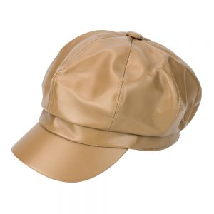 Hat Mary Quant Inspired Baker Boy Made With Faux Leather by JOE COOL