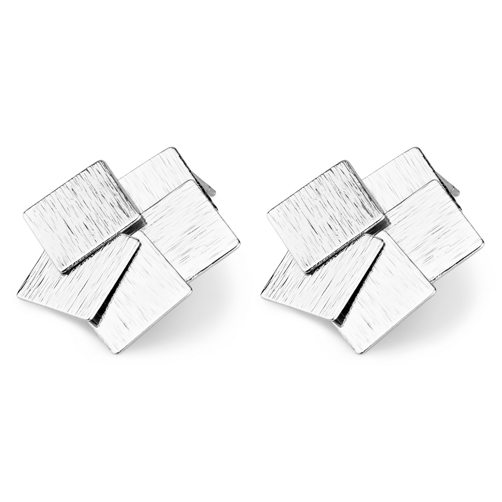 Stud Earring Overlapping Squares Made With Tin Alloy by JOE COOL