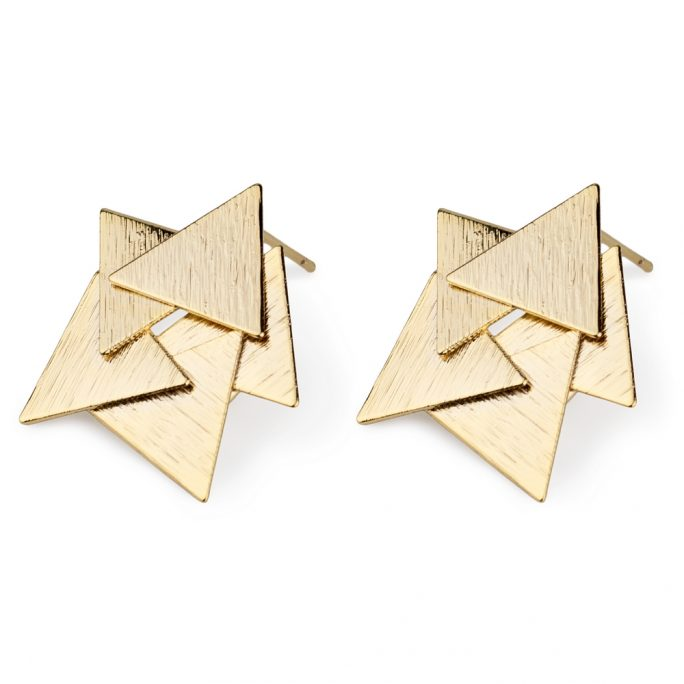 Stud Earring Overlapping Triangles Made With Tin Alloy by JOE COOL
