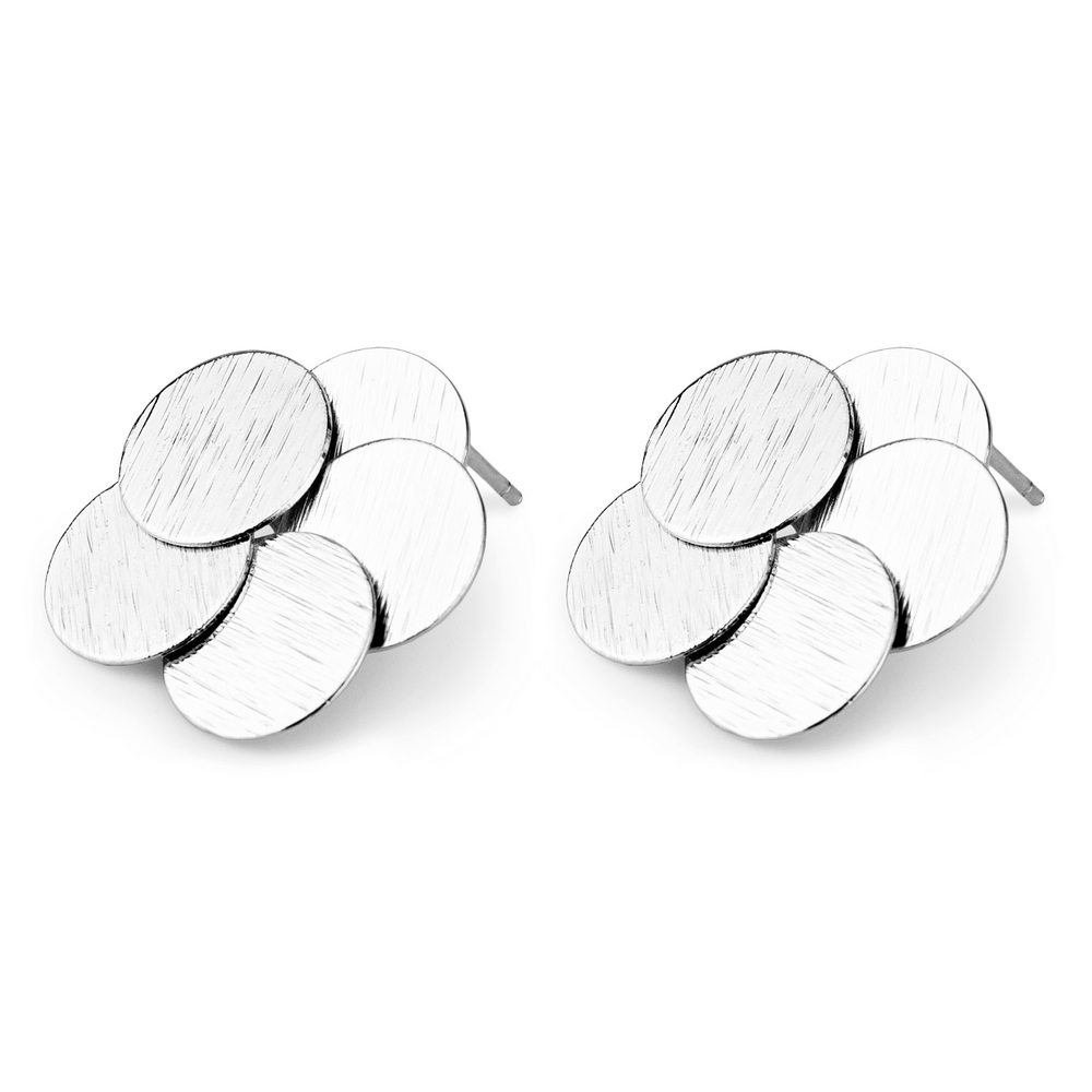 Stud Earring Overlapping Circles Made With Tin Alloy by JOE COOL
