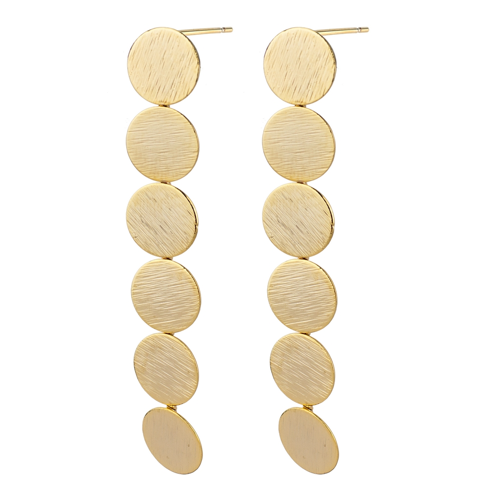 Stud Earring Trailing Circles Made With Tin Alloy by JOE COOL