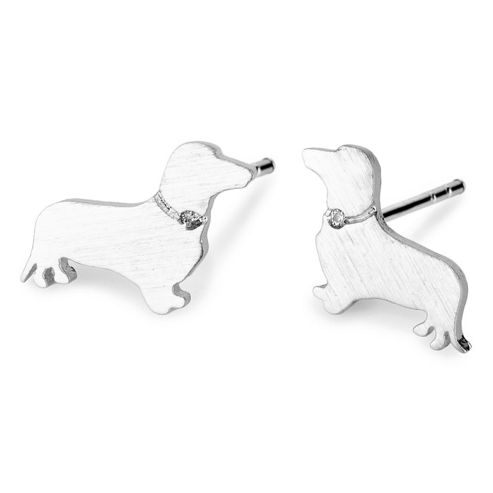 Stud Earring Dachshund Made With Crystal Glass & Tin Alloy by JOE COOL