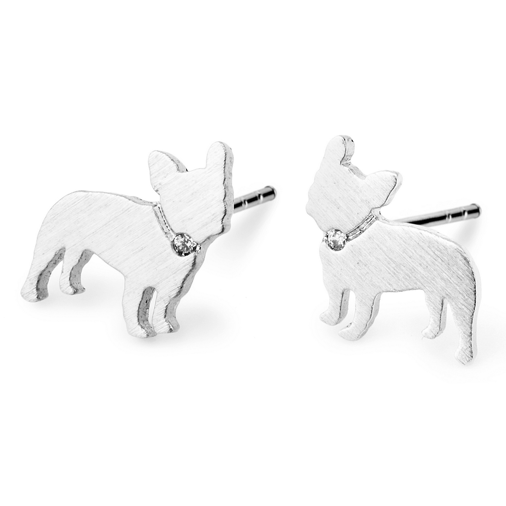 Stud Earring French Bulldog Made With Crystal Glass & Tin Alloy by JOE COOL