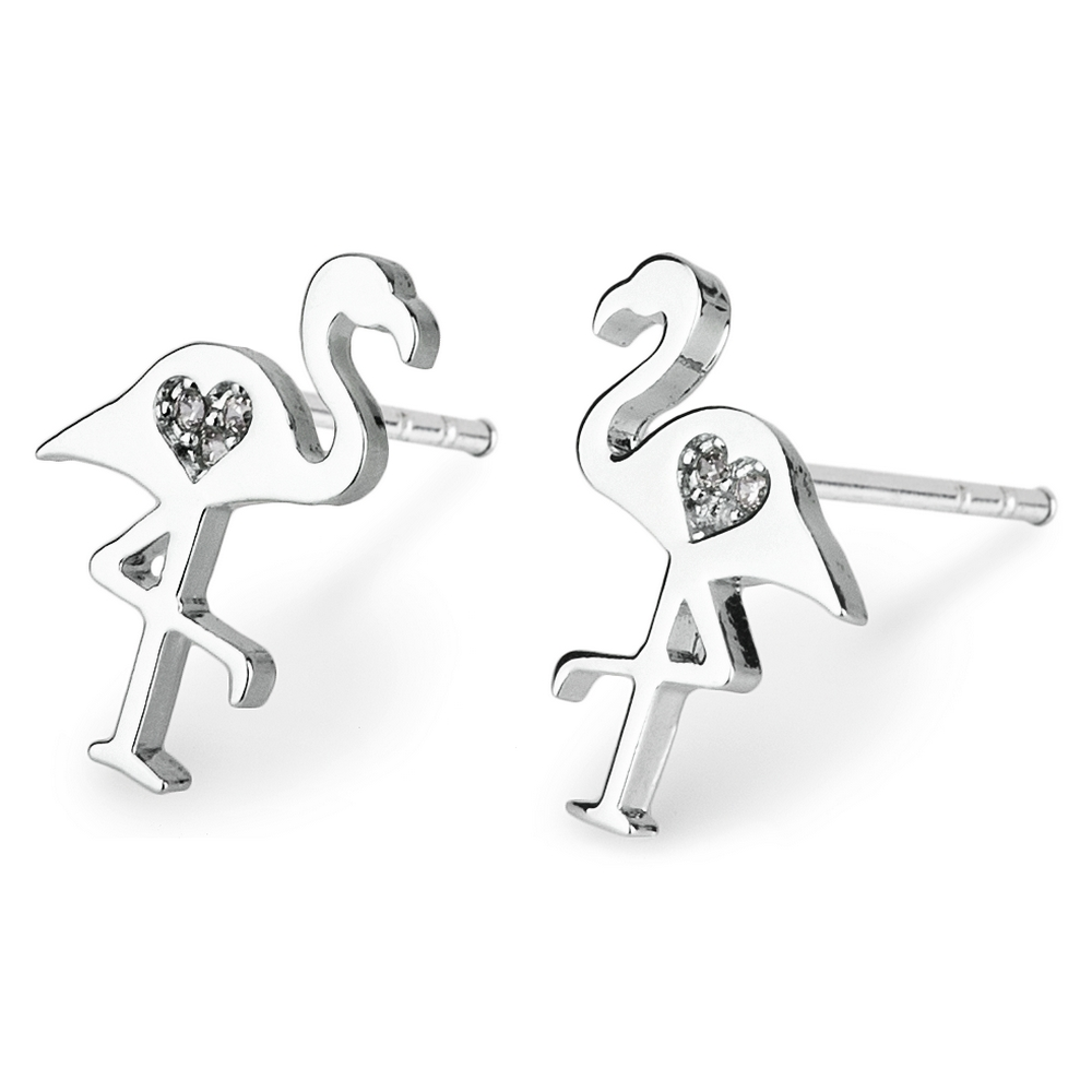 Stud Earring Flamingo Made With Crystal Glass & Tin Alloy by JOE COOL