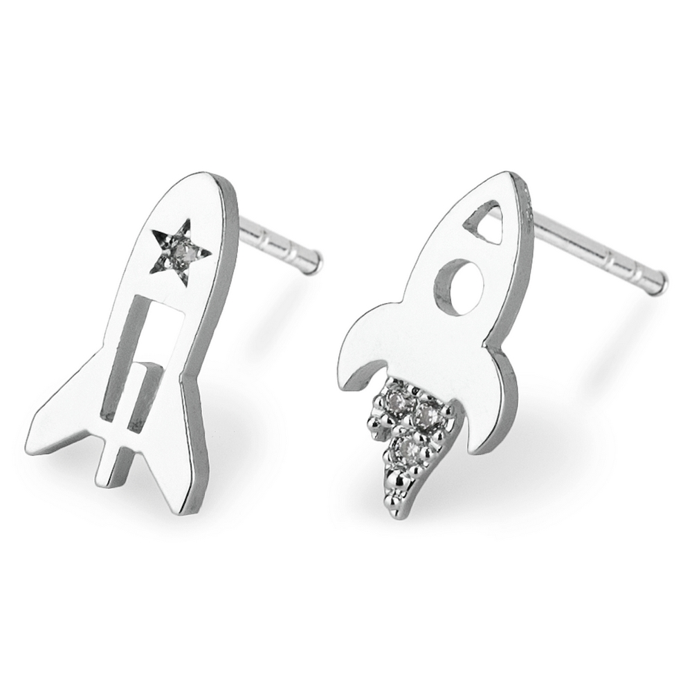 Stud Earring Rocket Launch Made With Crystal Glass & Tin Alloy by JOE COOL