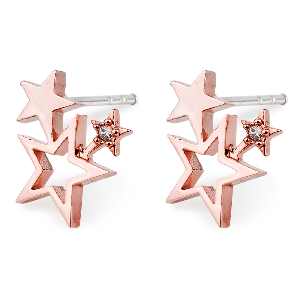 Stud Earring Triple Star Made With Crystal Glass & Tin Alloy by JOE COOL