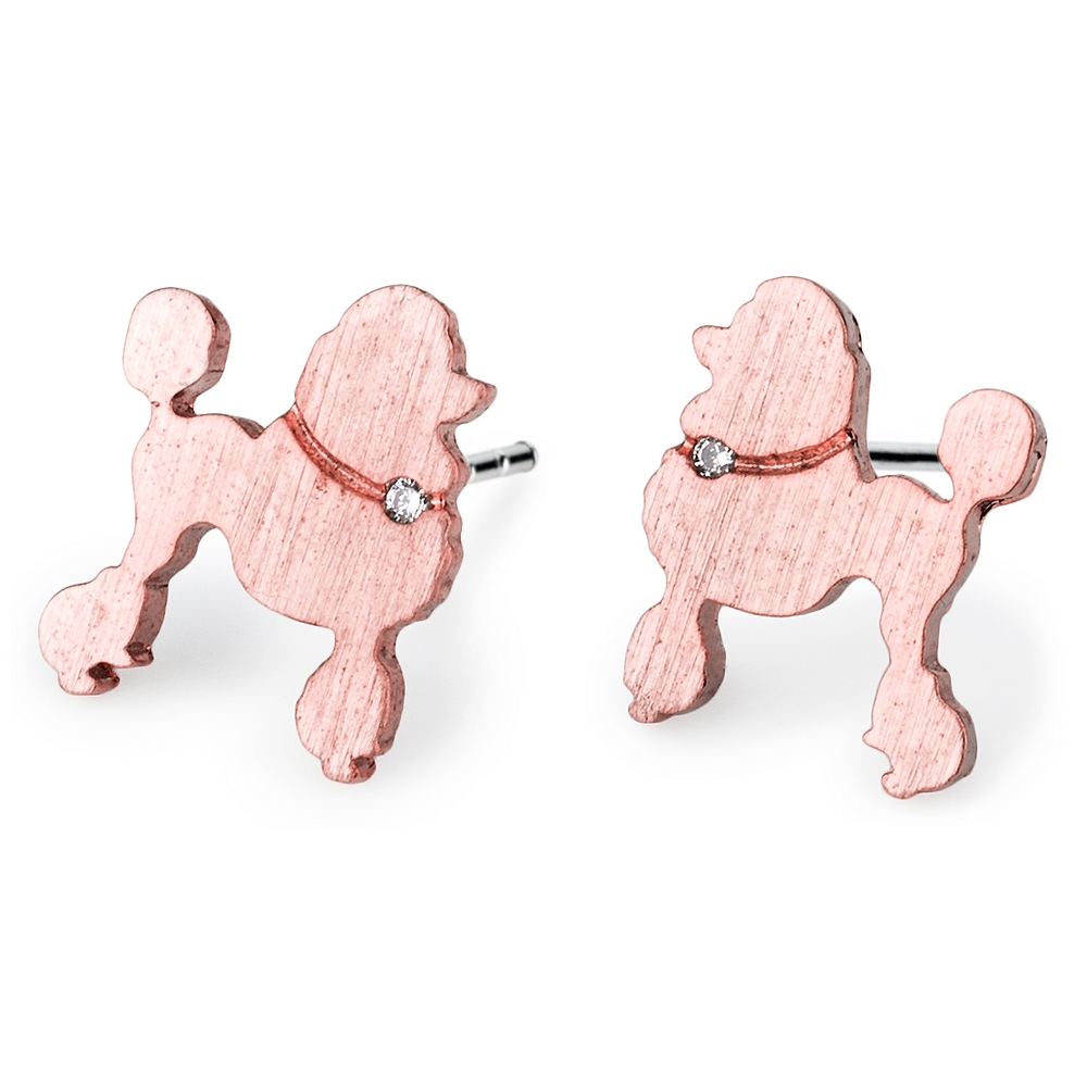 Stud Earring Poodle Made With Crystal Glass & Tin Alloy by JOE COOL