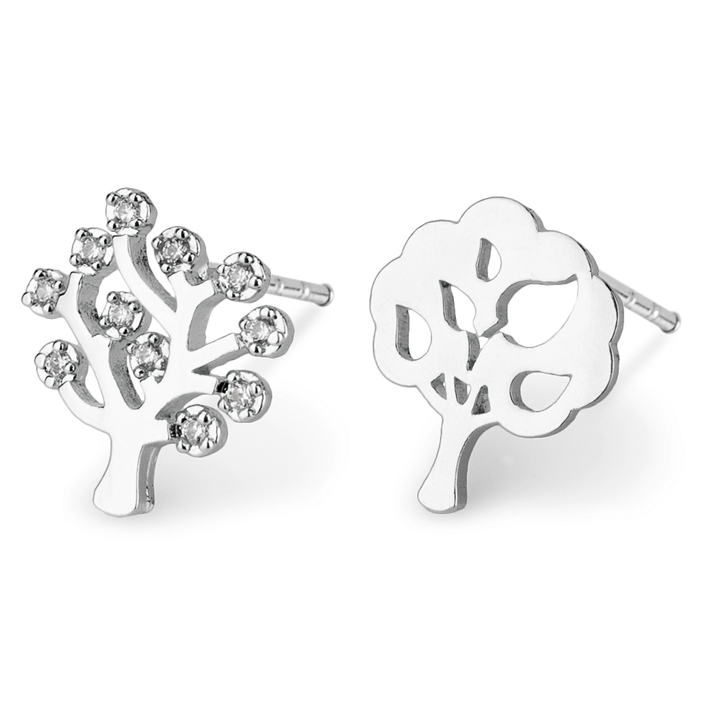 Stud Earring Tree Of Life Made With Crystal Glass & Tin Alloy by JOE COOL