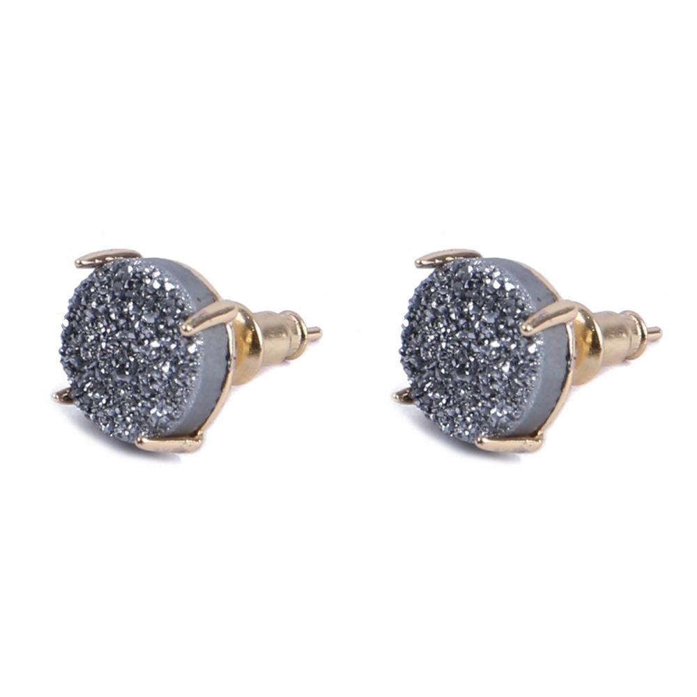 Stud Earring Claw Set Quartz Rondelle Made With Copper & Stone by JOE COOL