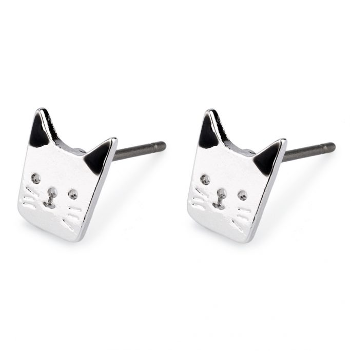 Stud Earring Kitten Made With Tin Alloy & Enamel by JOE COOL