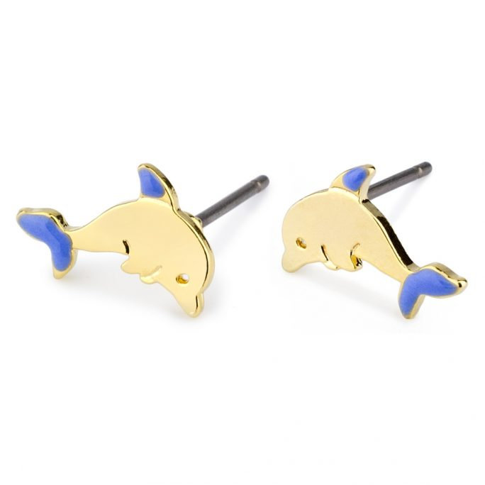 Stud Earring Dolphin Made With Tin Alloy & Enamel by JOE COOL