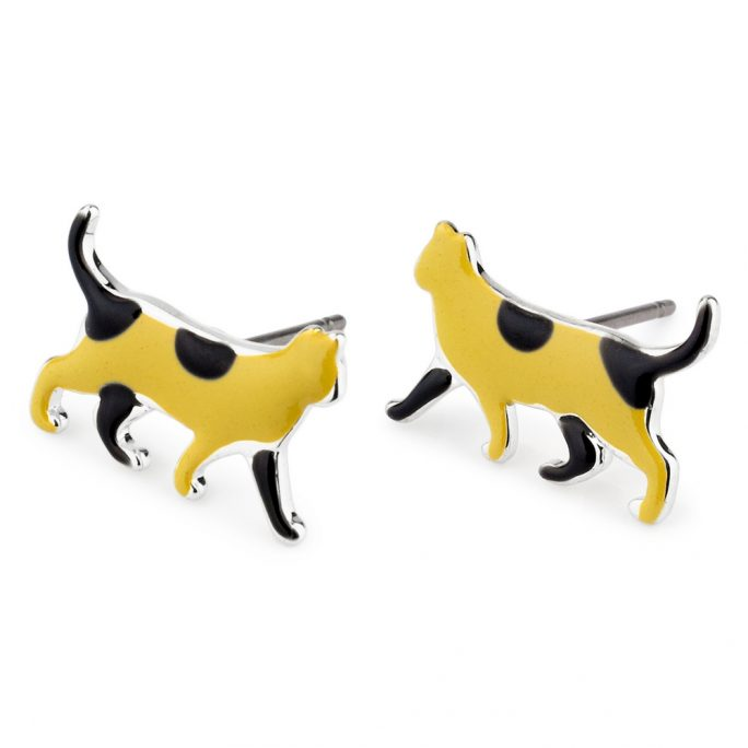 Stud Earring Cat Made With Tin Alloy & Enamel by JOE COOL