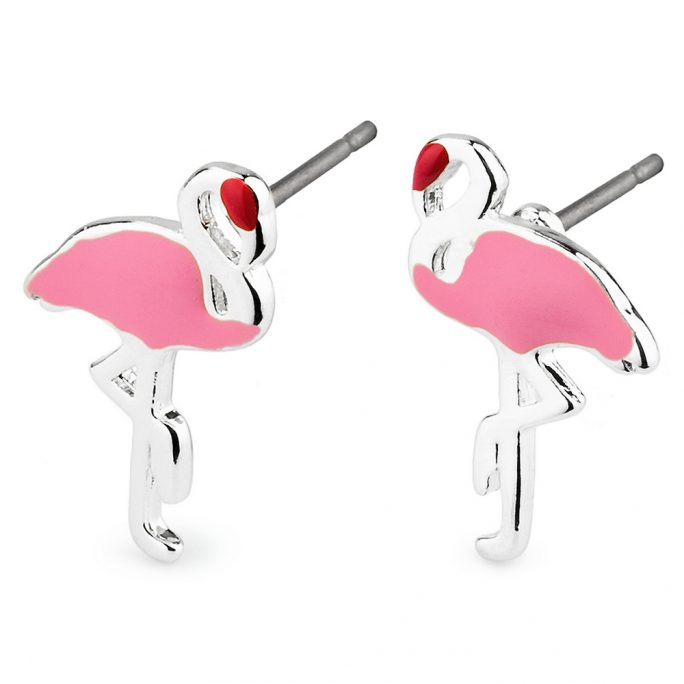 Stud Earring Flamingo Made With Tin Alloy & Enamel by JOE COOL
