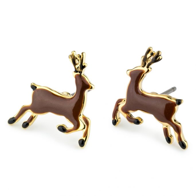 Stud Earring Deer Made With Tin Alloy & Enamel by JOE COOL