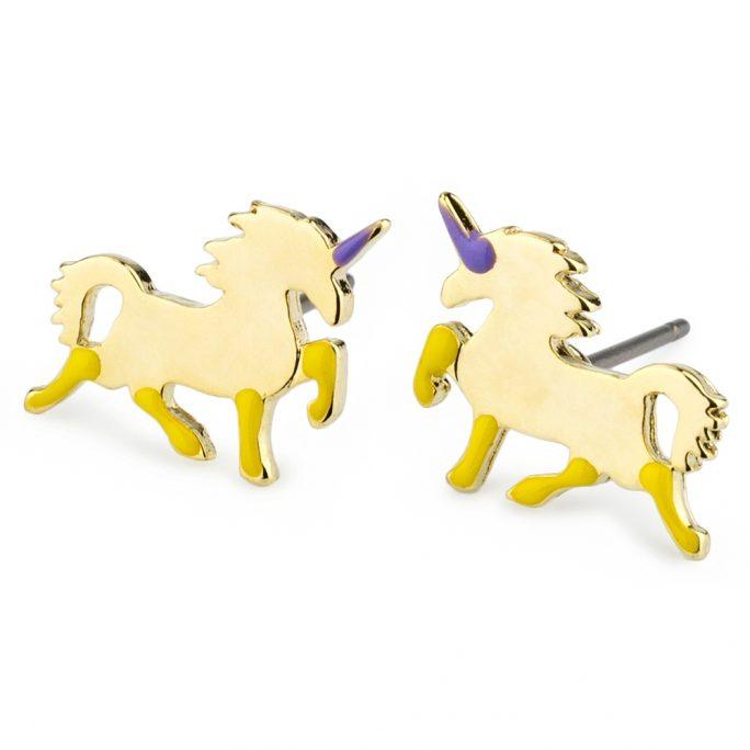 Stud Earring Unicorn Made With Tin Alloy & Enamel by JOE COOL