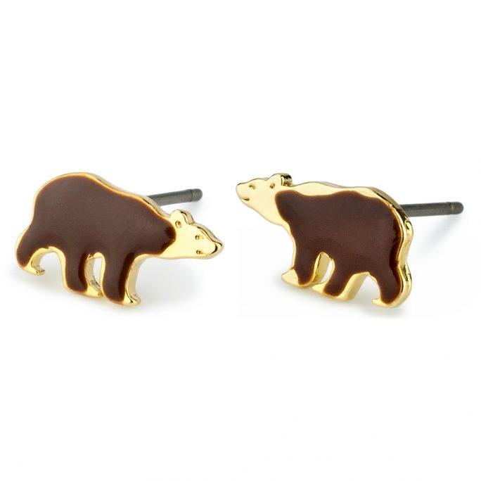 Stud Earring Bear Made With Tin Alloy & Enamel by JOE COOL