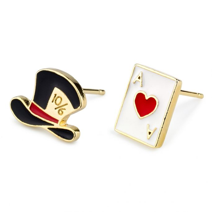 Stud Earring Hat And Card Made With Tin Alloy & Enamel by JOE COOL