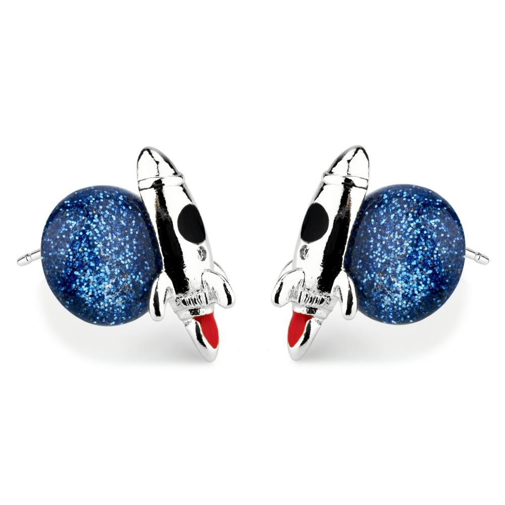 Stud Earring Rocket & Moon Made With Tin Alloy & Enamel by JOE COOL