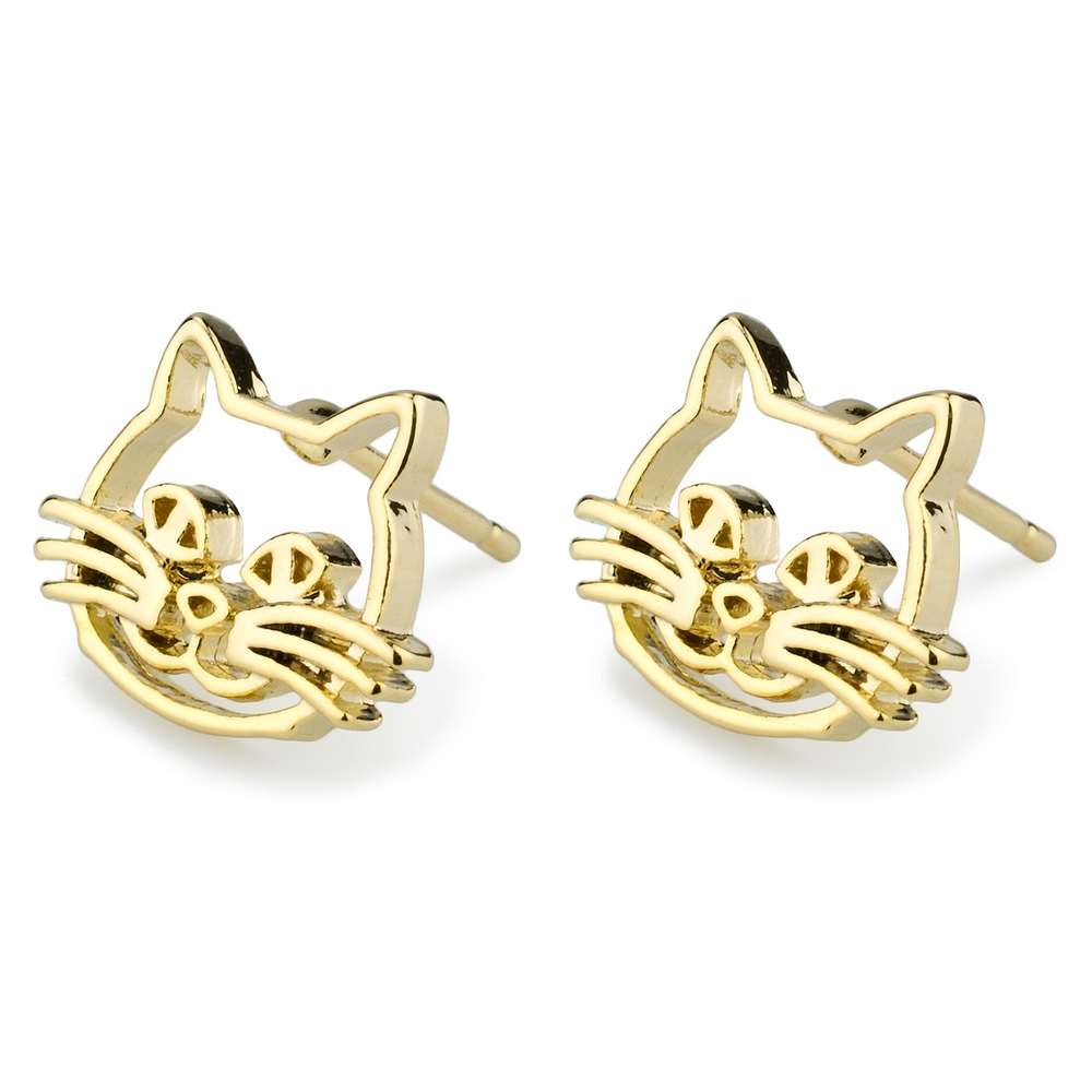 Stud Earring Cat Face Made With Tin Alloy by JOE COOL