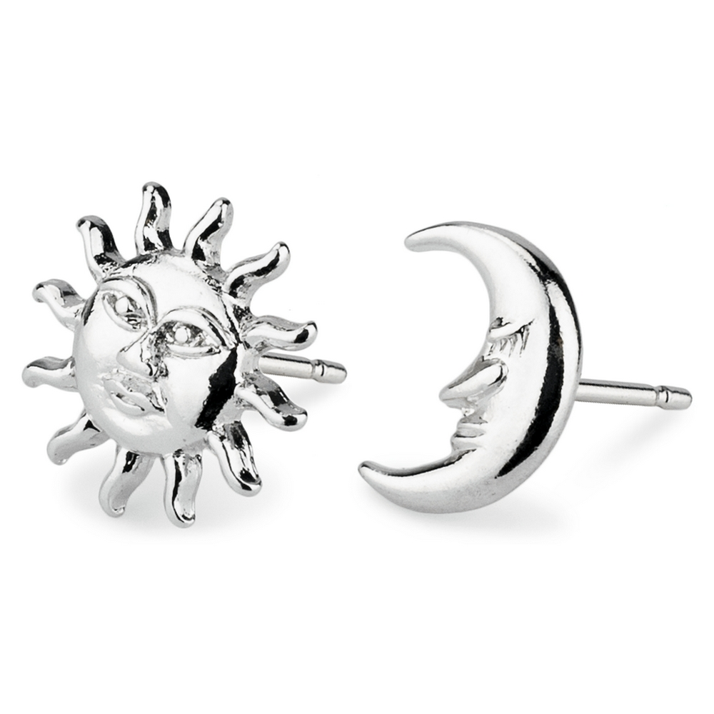 Stud Earring Sun & Moon Made With Tin Alloy by JOE COOL