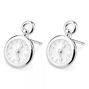 Stud Earring Pocketwatch Made With Tin Alloy & Enamel by JOE COOL