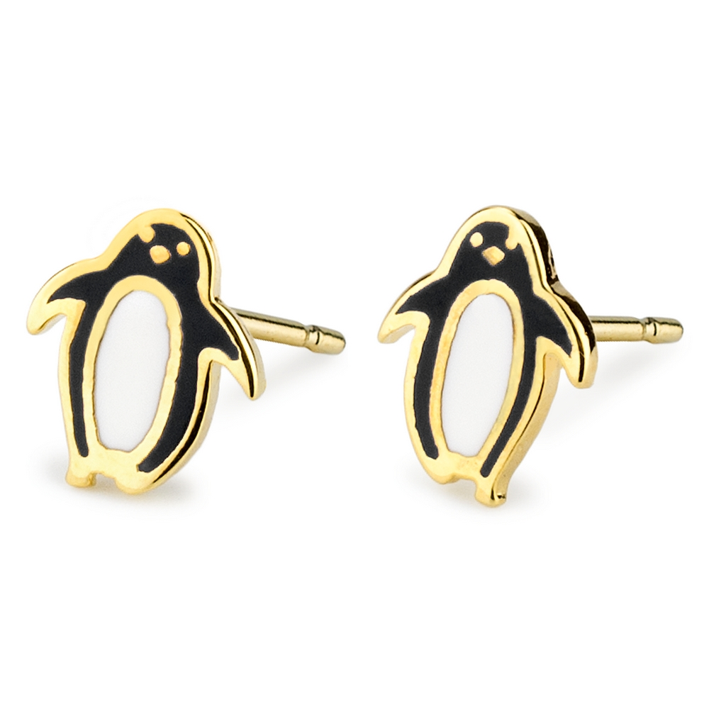 Stud Earring Penguin Made With Tin Alloy & Enamel by JOE COOL