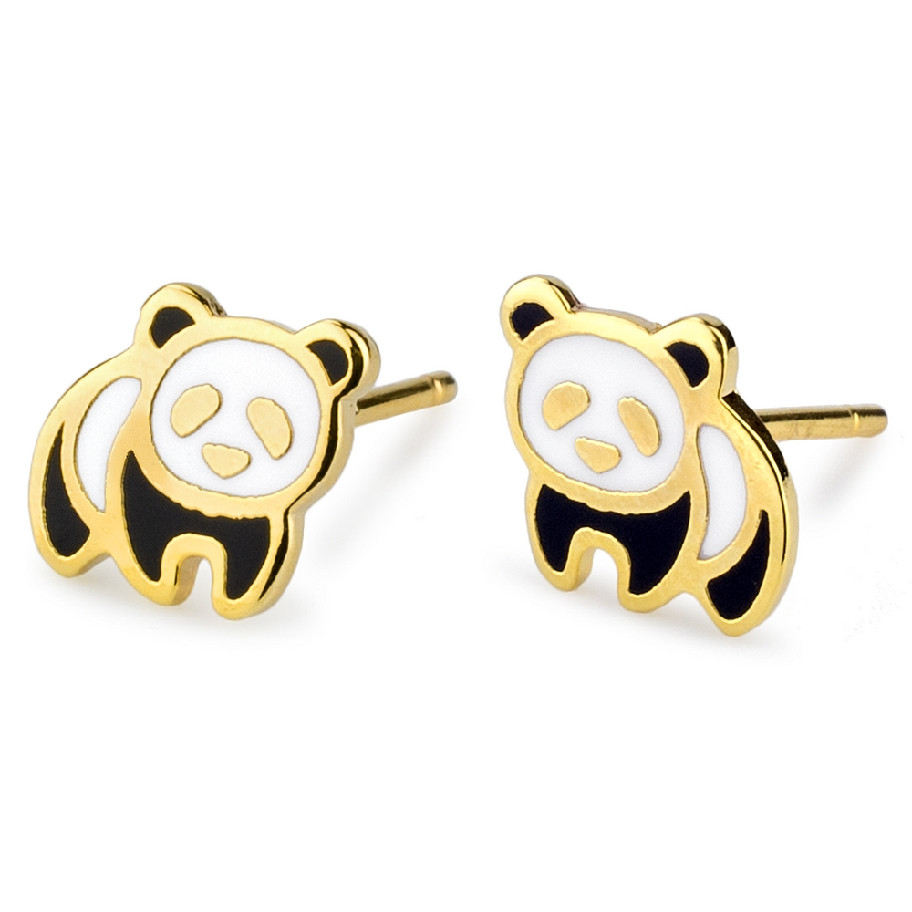 Stud Earring Panda Made With Tin Alloy & Enamel by JOE COOL