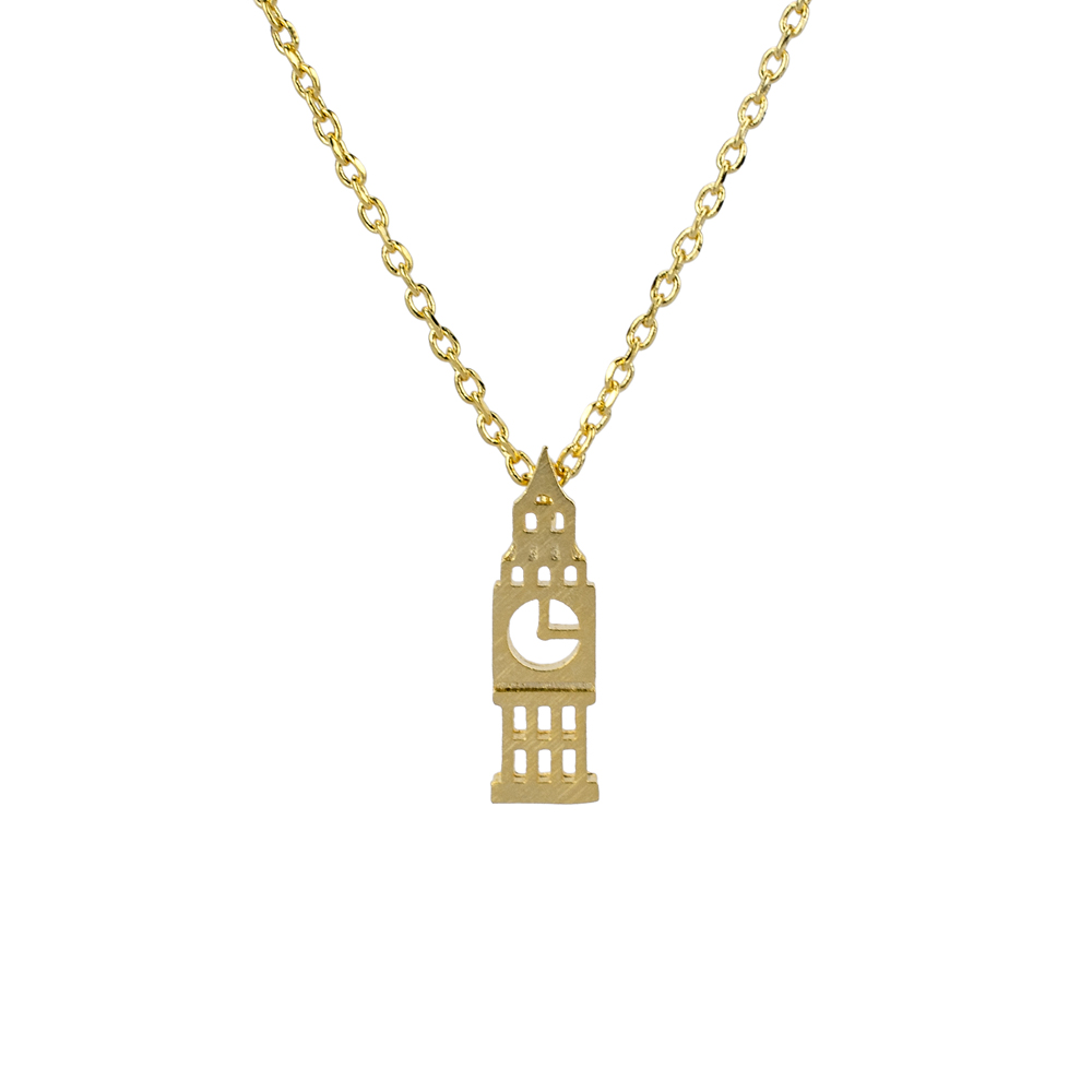 JOE COOL Necklace with A Pendant Big Ben Made with Tin Alloy